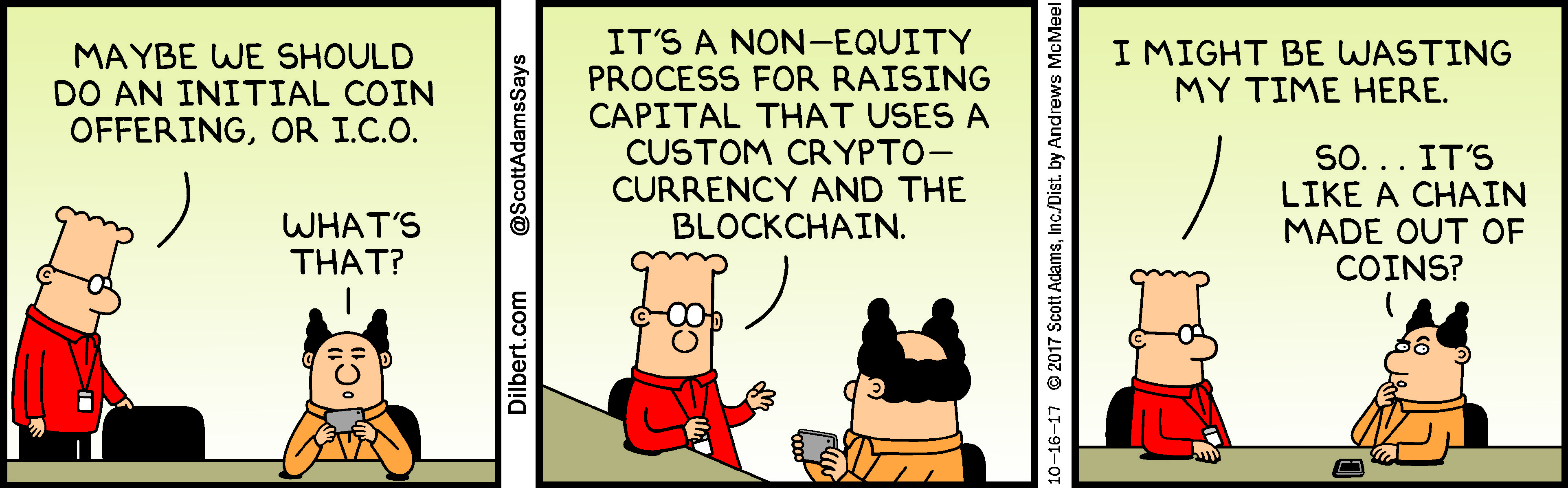Dilbert Comic Strips Lampoon Blockchain and Initial Coin Offerings
