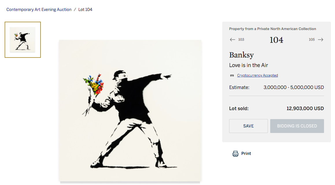 Sotheby's crypto-powered auction sells Banksy art for $13M